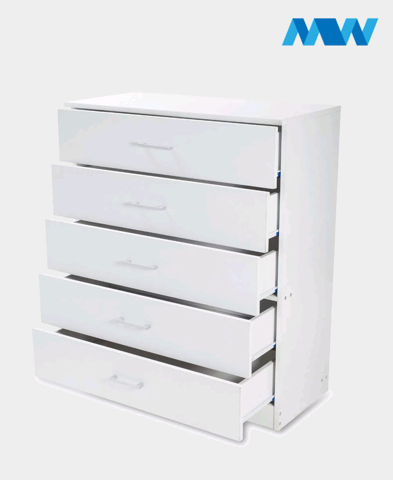 5 Drawers Chest Drawer white With open drawers