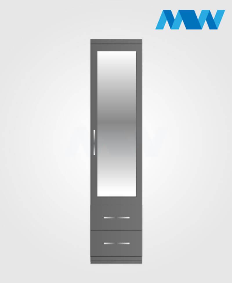 1 door plain wardrobe 2 drawers with mirror grey