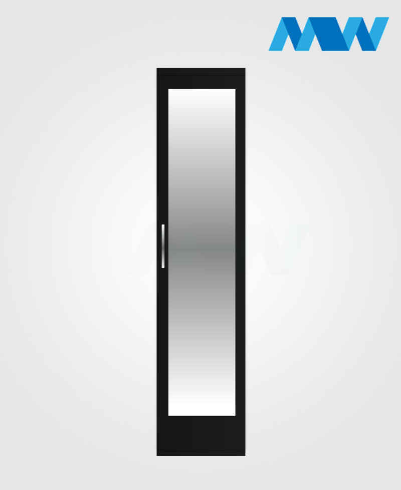 One Door mirrored wardrobe black