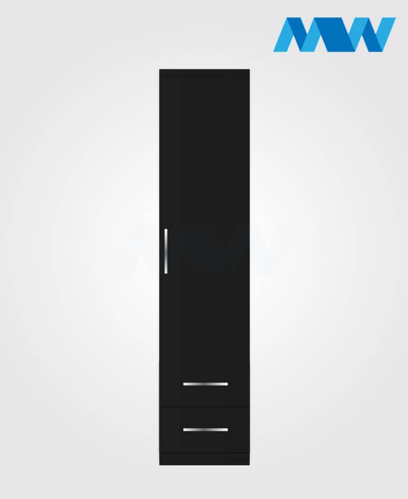 1 door wardrobe with 2 drawers black