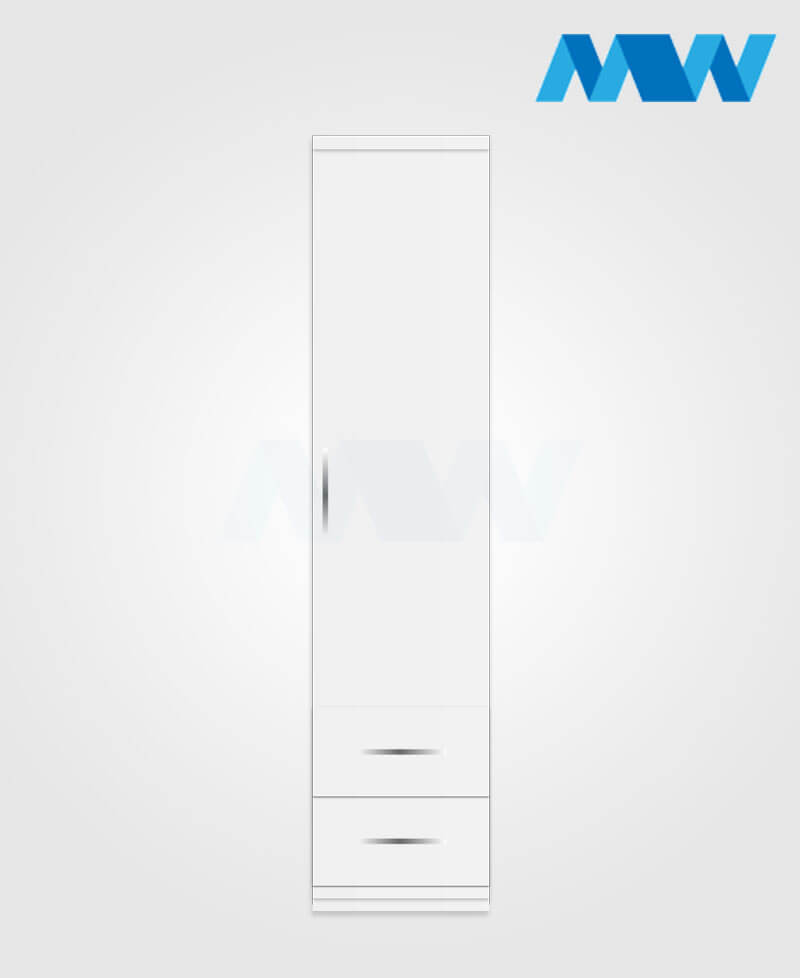 1 door wardrobe with 2 drawers white