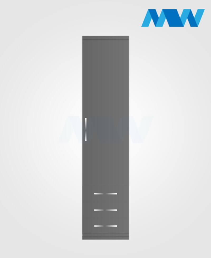 1 door wardrobe with 3 draw grey