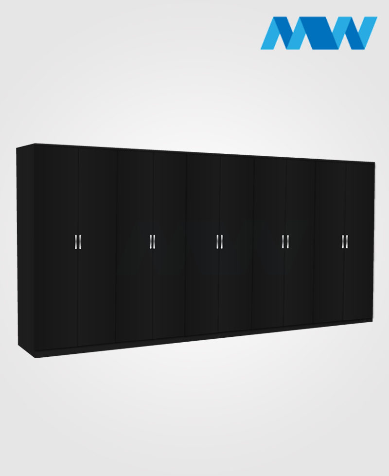 kings 10 door wardrobe black