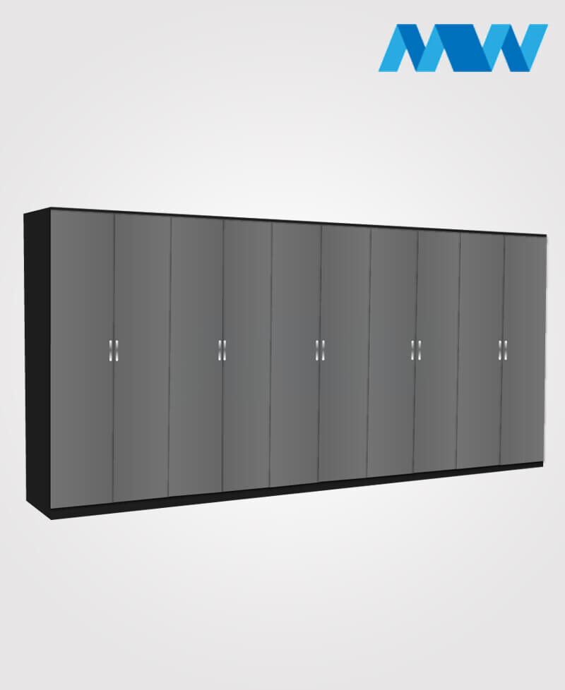 kings 10 door wardrobe grey and black