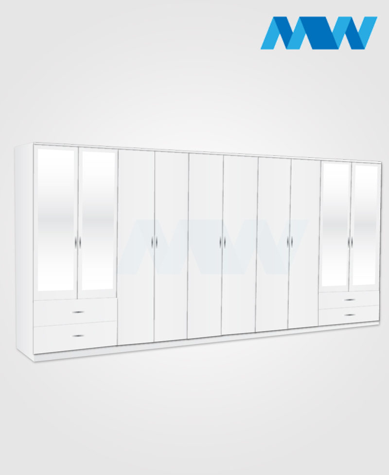 10 door wardrobe with 4 mirrors and 4 drawers white