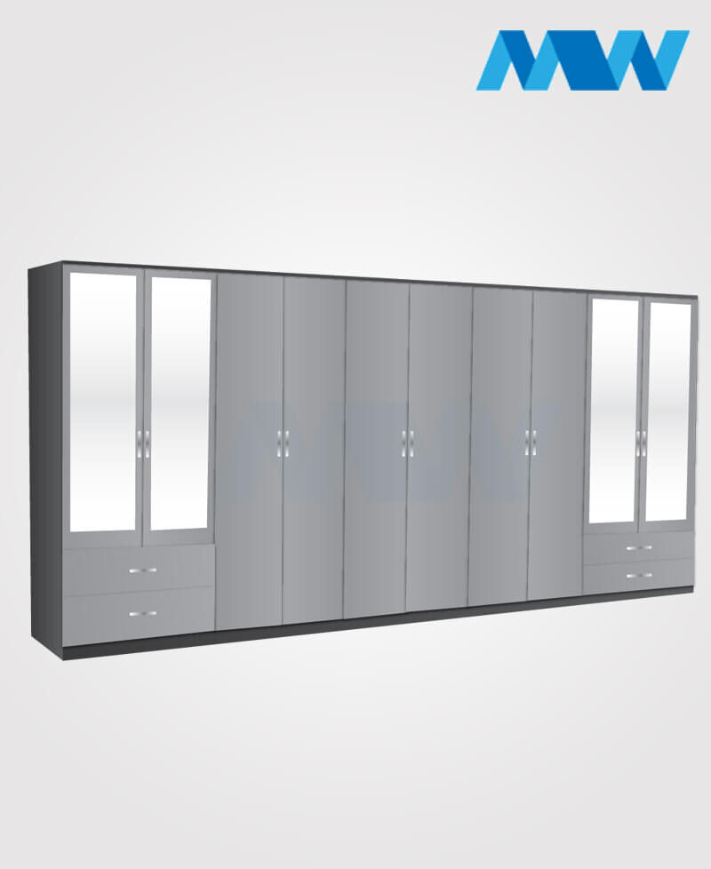 10 door wardrobe with 4 mirrors and 4 drawers grey and black