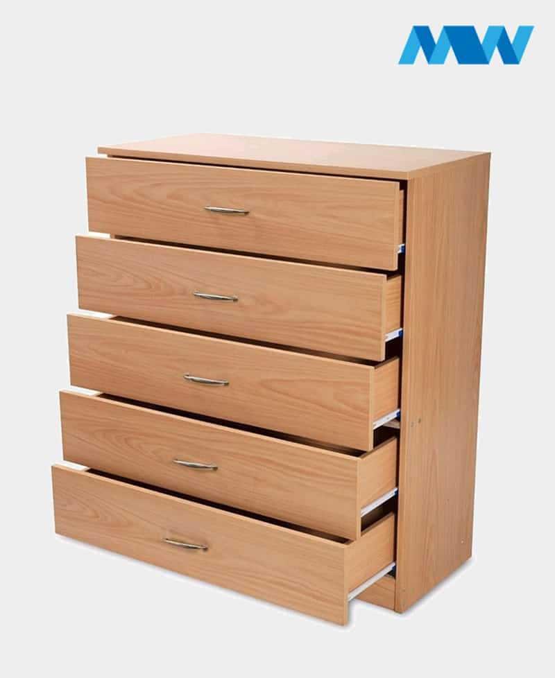 5 Drawers Chest Drawer oak With open drawers