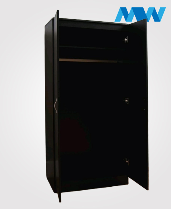 2 Door plain wardrobe black open doors