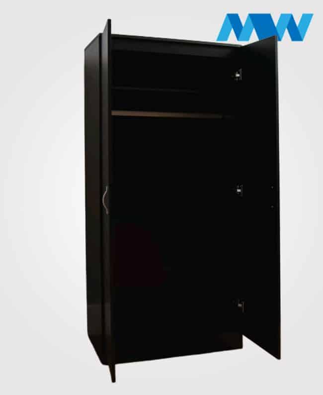 2 Door plain wardrobe black open doors