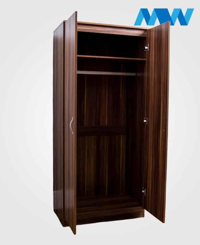 2 Door plain wardrobe walnut open doors