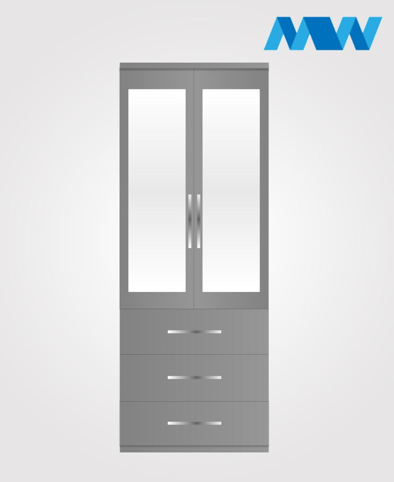 2 Door wardrobe with 3 drawers 2 mirros grey
