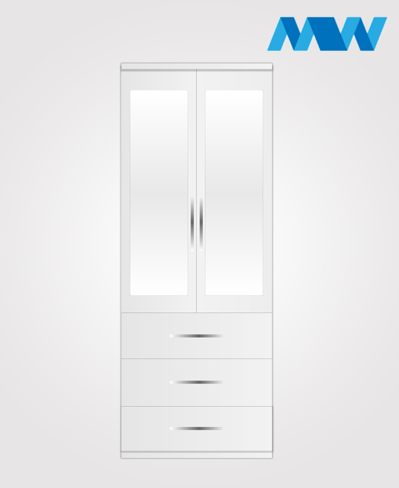 2 Door wardrobe with 3 drawers 2 mirros white