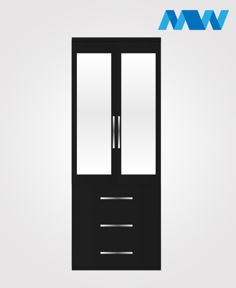 2 Door wardrobe with 3 drawers 2 mirrosblack