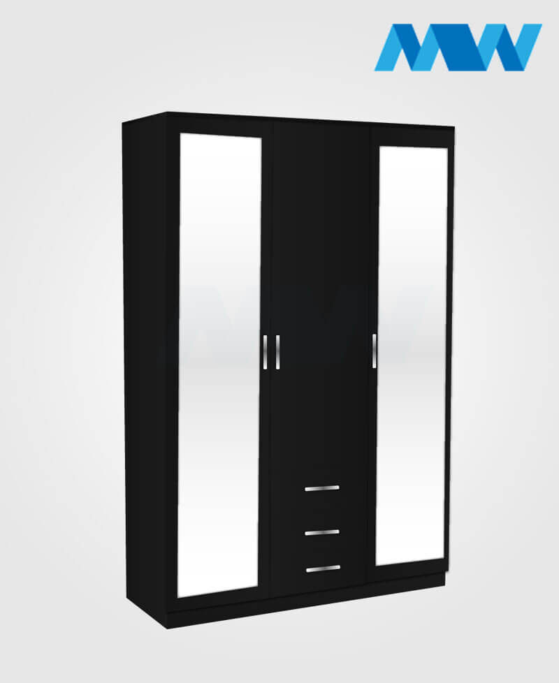 3 Door wardrobe with two mirrors and three drawers black