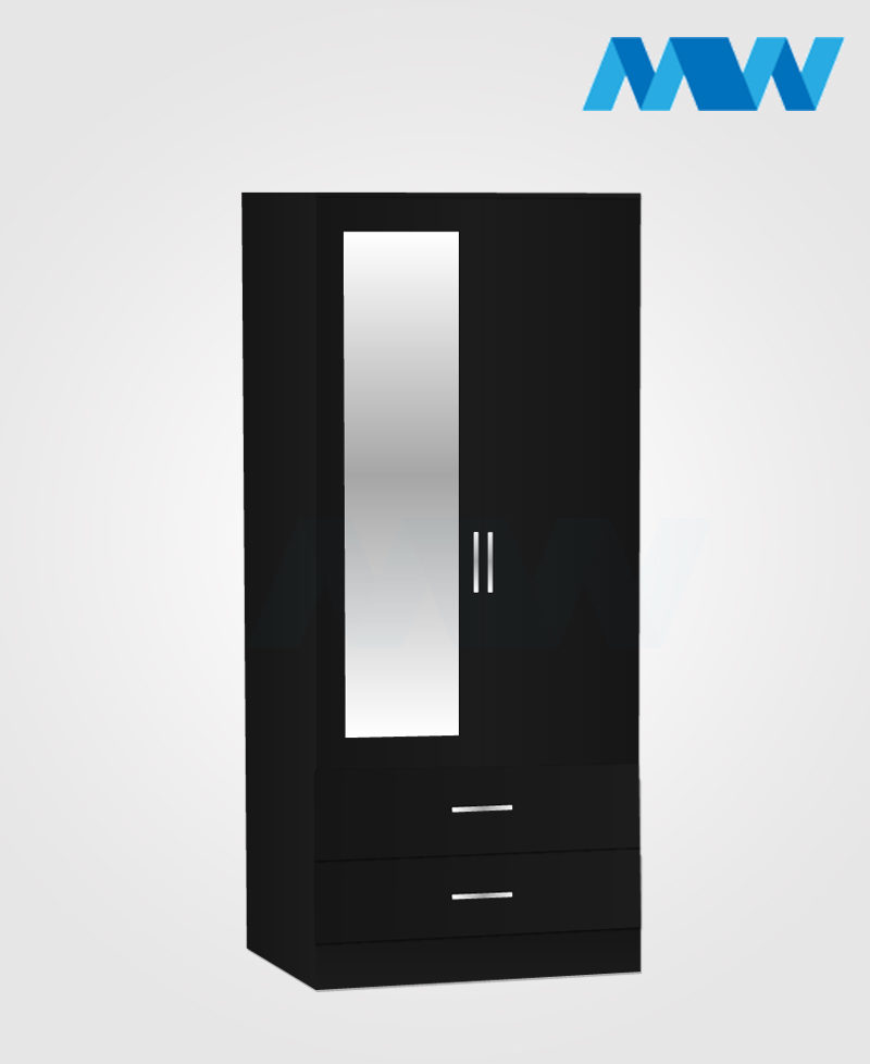Zen 2 Door Wardrobe With 1 Mirror and 2 Drawer black