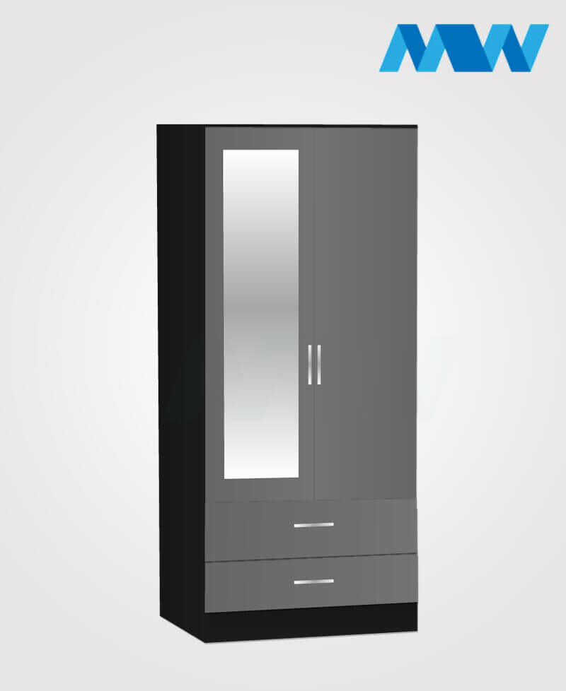 Zen 2 Door Wardrobe With 1 Mirror and 2 Drawer black and grey
