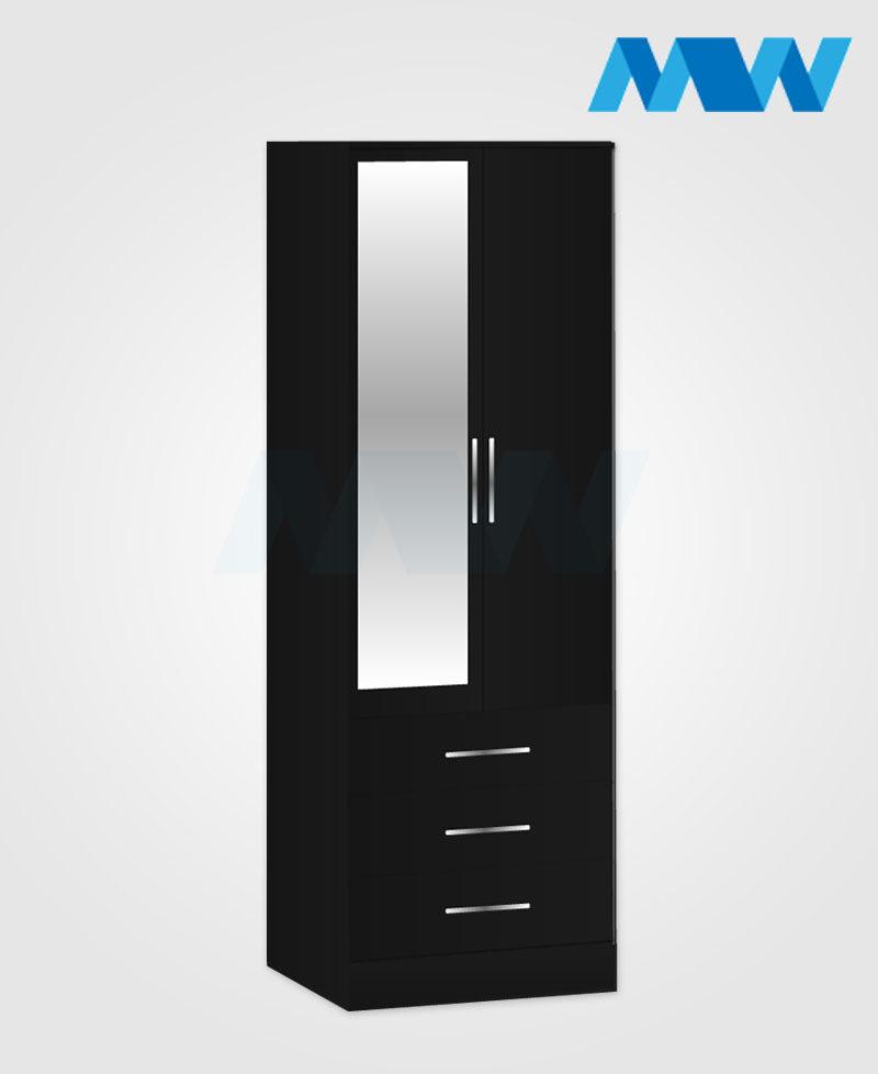 2 door 1 mirror 3 drawers black