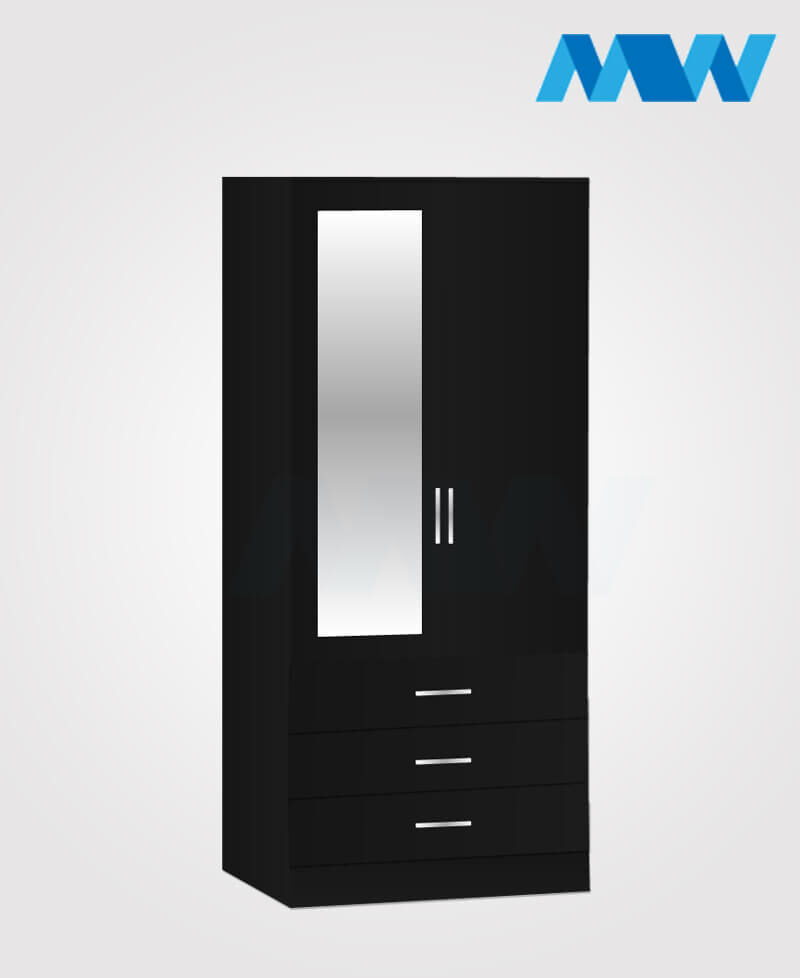 Zen 2 Door Wardrobe With 1 Mirror and 3 Drawer black
