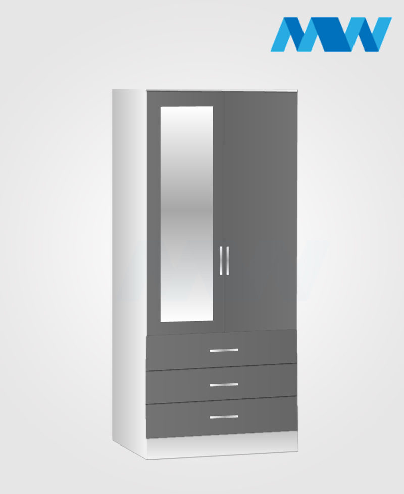 Zen 2 Door Wardrobe With 1 Mirror and 3 Drawer grey and white
