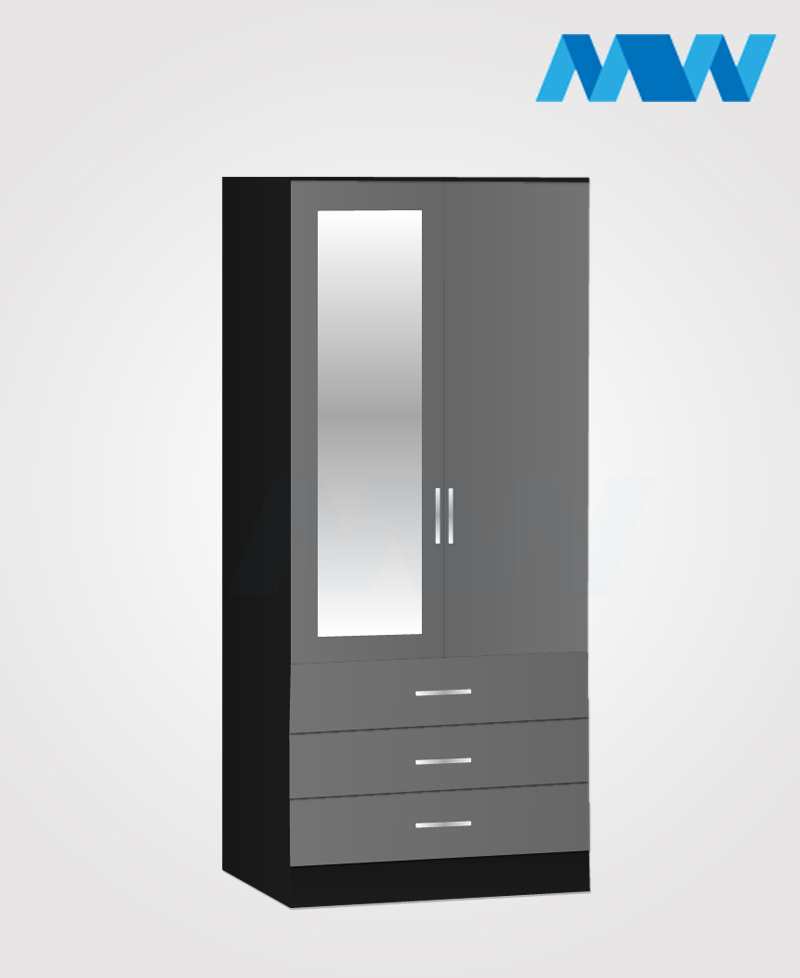 Zen 2 Door Wardrobe With 1 Mirror and 3 Drawer grey and black