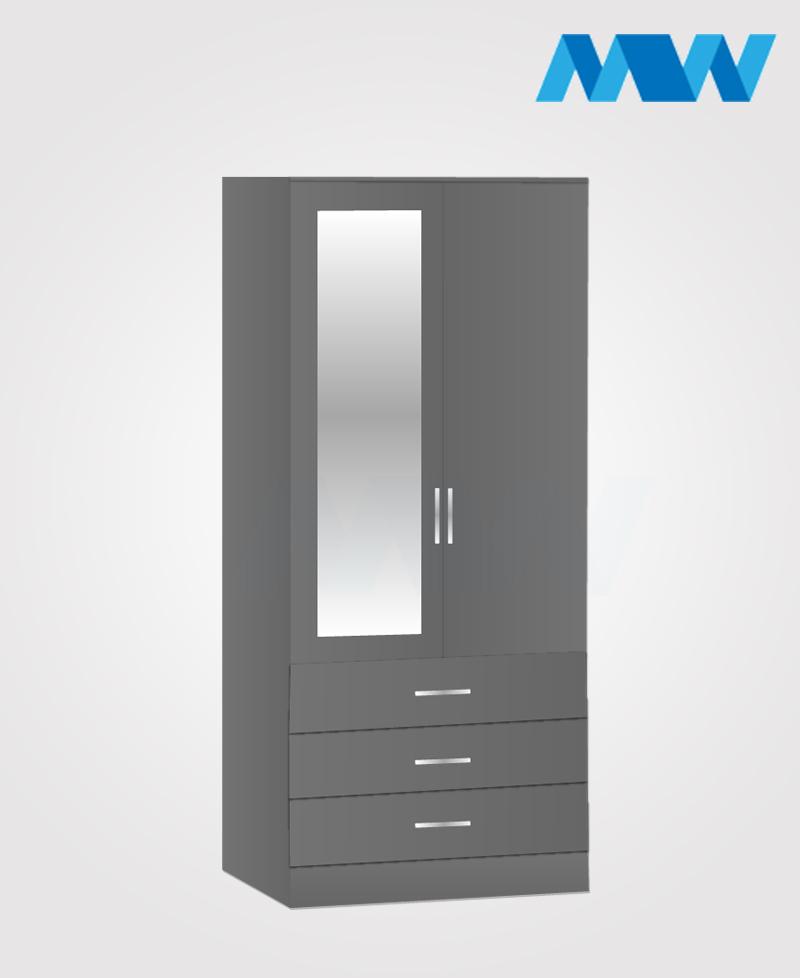 Zen 2 Door Wardrobe With 1 Mirror and 3 Drawer grey