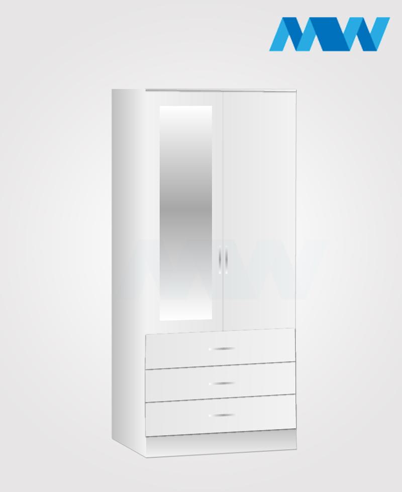 Zen 2 Door Wardrobe With 1 Mirror and 3 Drawer white