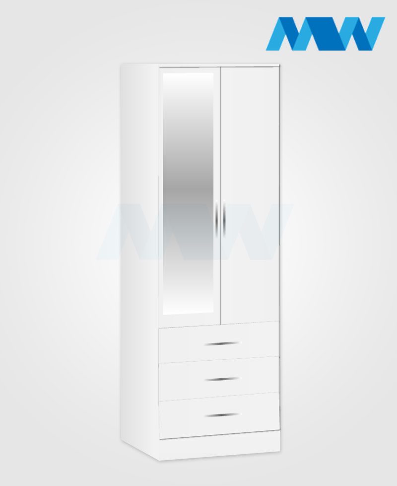 2 door 1 mirror 3 drawers white