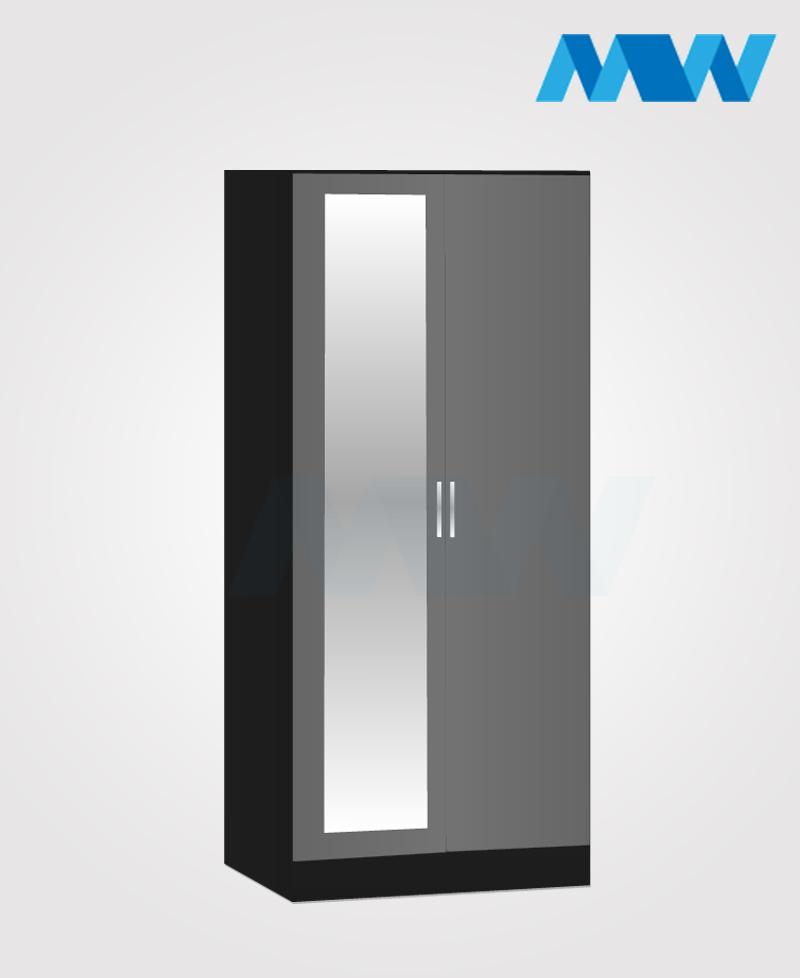Zen 2 Door Wardrobe With 1 Mirror black and grey