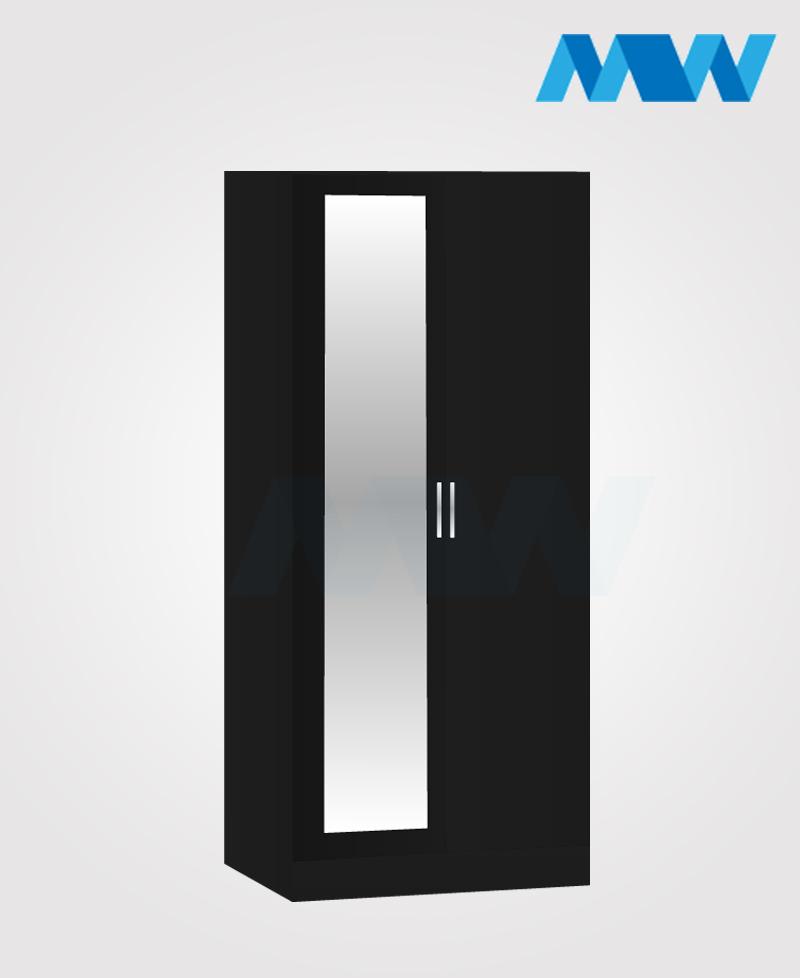 Zen 2 Door Wardrobe With 1 Mirror black