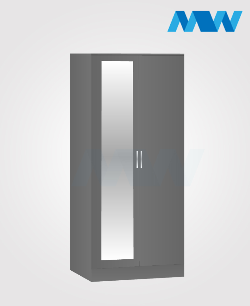 Zen 2 Door Wardrobe With 1 Mirror grey