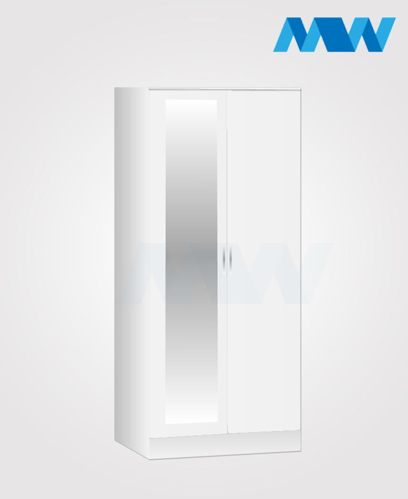 Zen 2 Door Wardrobe With 1 Mirror white