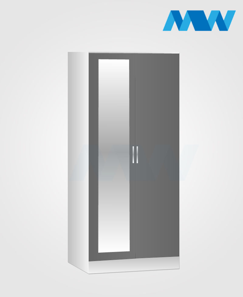 Zen 2 Door Wardrobe With 1 Mirror white and grey