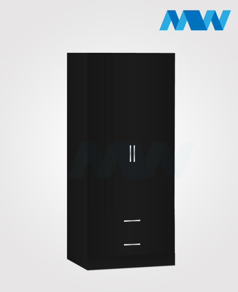 Zen 2 Door Wardrobe With 2 Drawers black