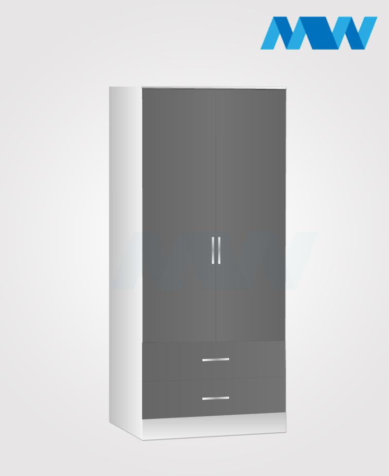 Zen 2 Door Wardrobe With 2 Drawers grey white