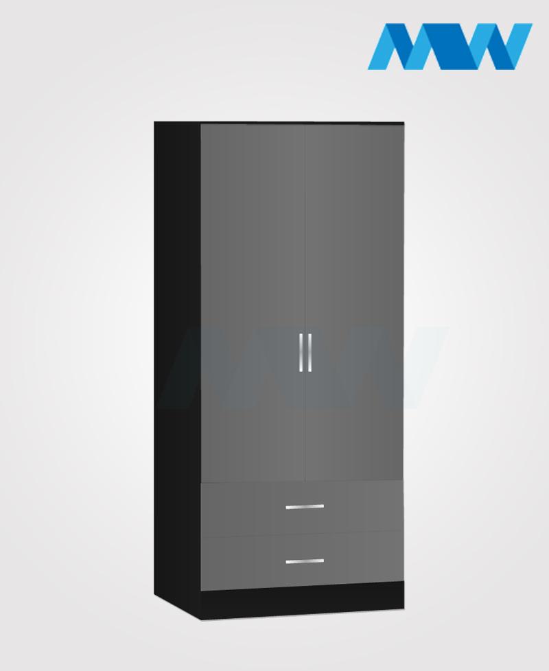 Zen 2 Door Wardrobe With 2 Drawers grey and black