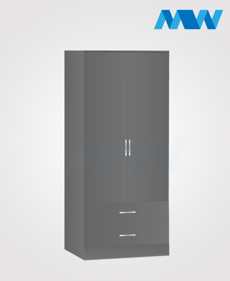 Zen 2 Door Wardrobe With 2 Drawers grey