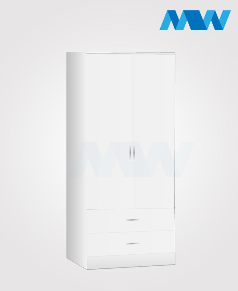 Zen 2 Door Wardrobe With 2 Drawers white