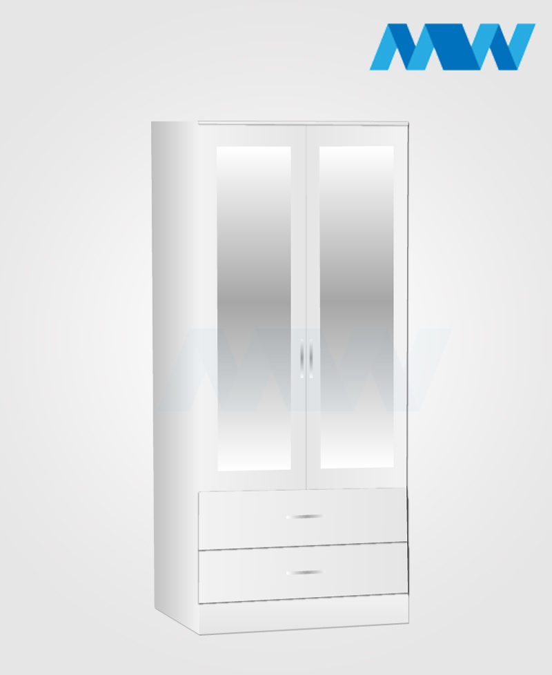 Zen 2 Door Wardrobe With 2 Mirror and 2 Drawer white