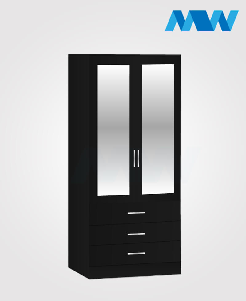 2 door wardrobe with 3 drawers and 2 mirrors black