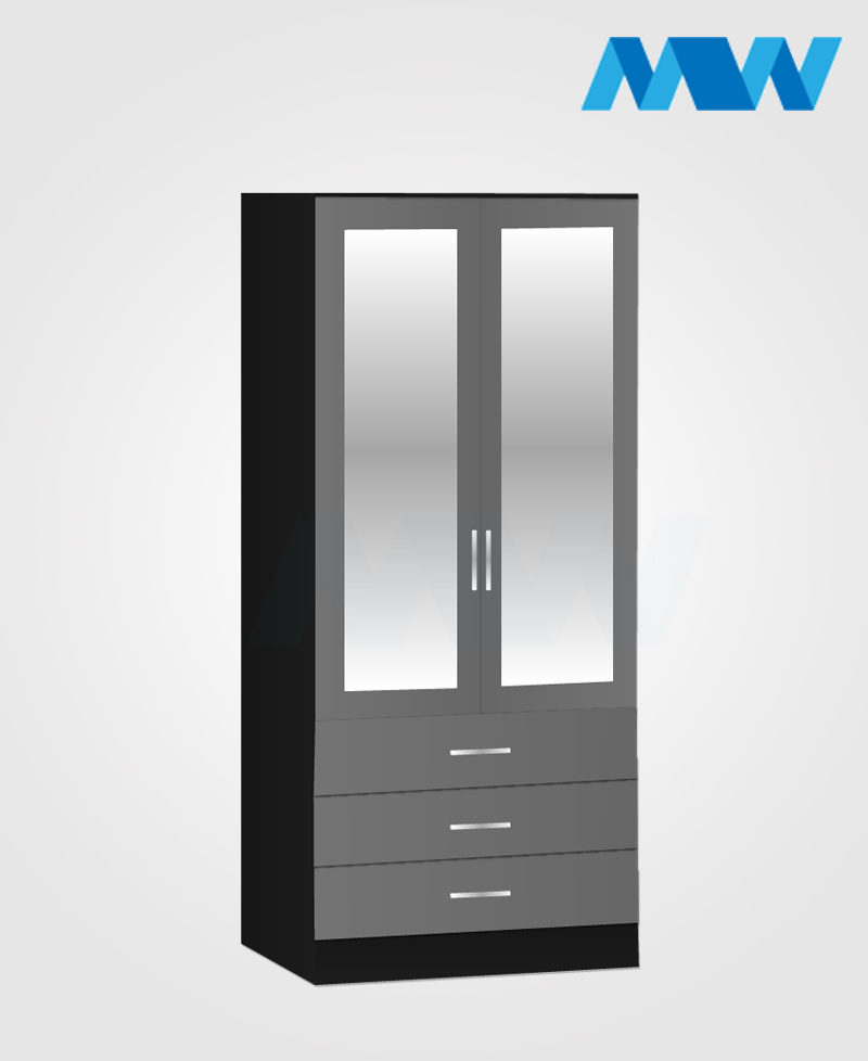 2 door wardrobe with 3 drawers and 2 mirrors grey and black