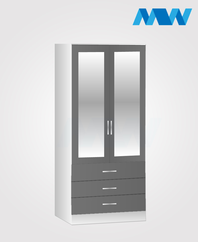 2 door wardrobe with 3 drawers and 2 mirrors grey and white