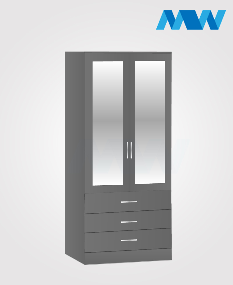 2 door wardrobe with 3 drawers and 2 mirrors grey