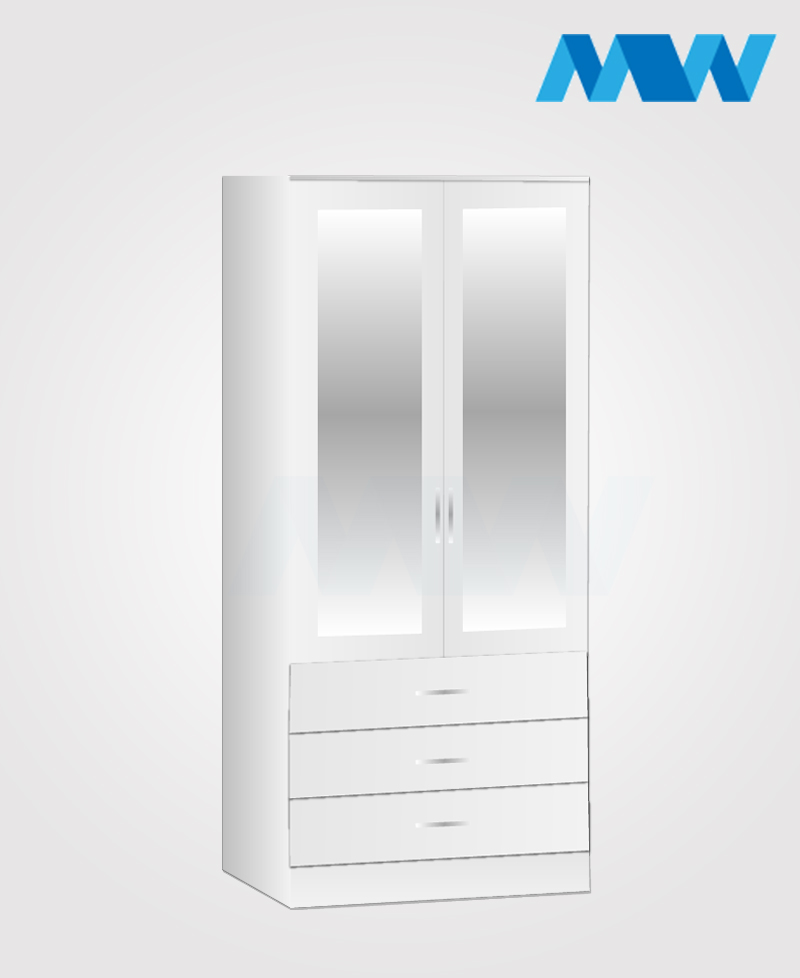 2 door wardrobe with 3 drawers and 2 mirrors white