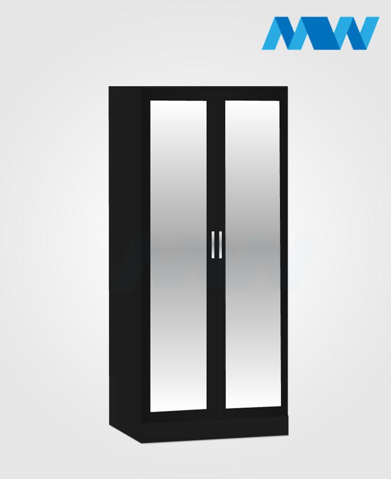 2 door mirrored wardrobe black