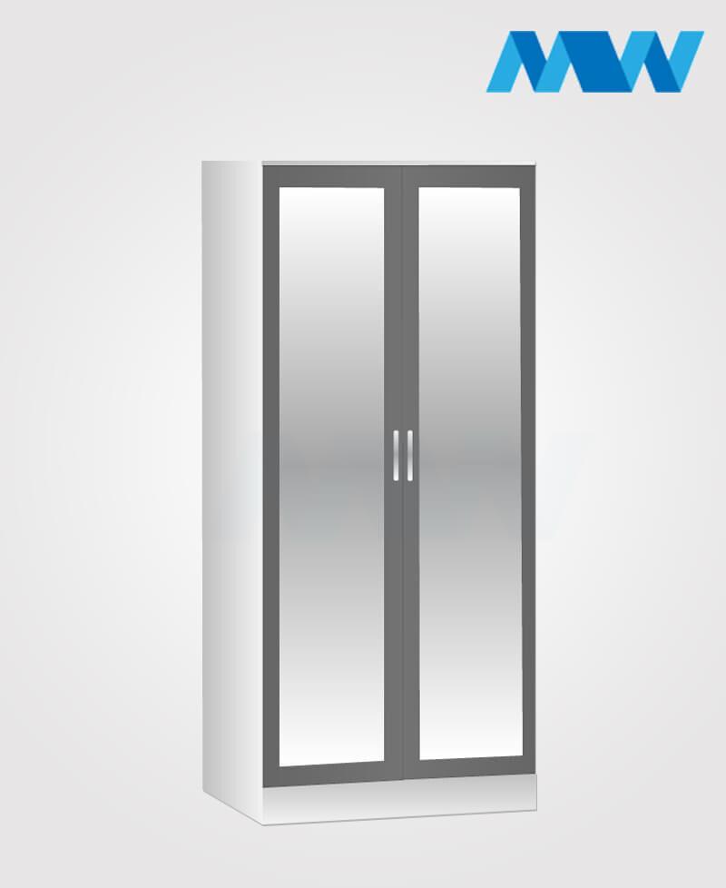 2 door mirrored wardrobe grey and white