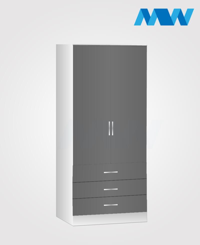 Zen 2 Door Wardrobe With 3 Drawer grey and white