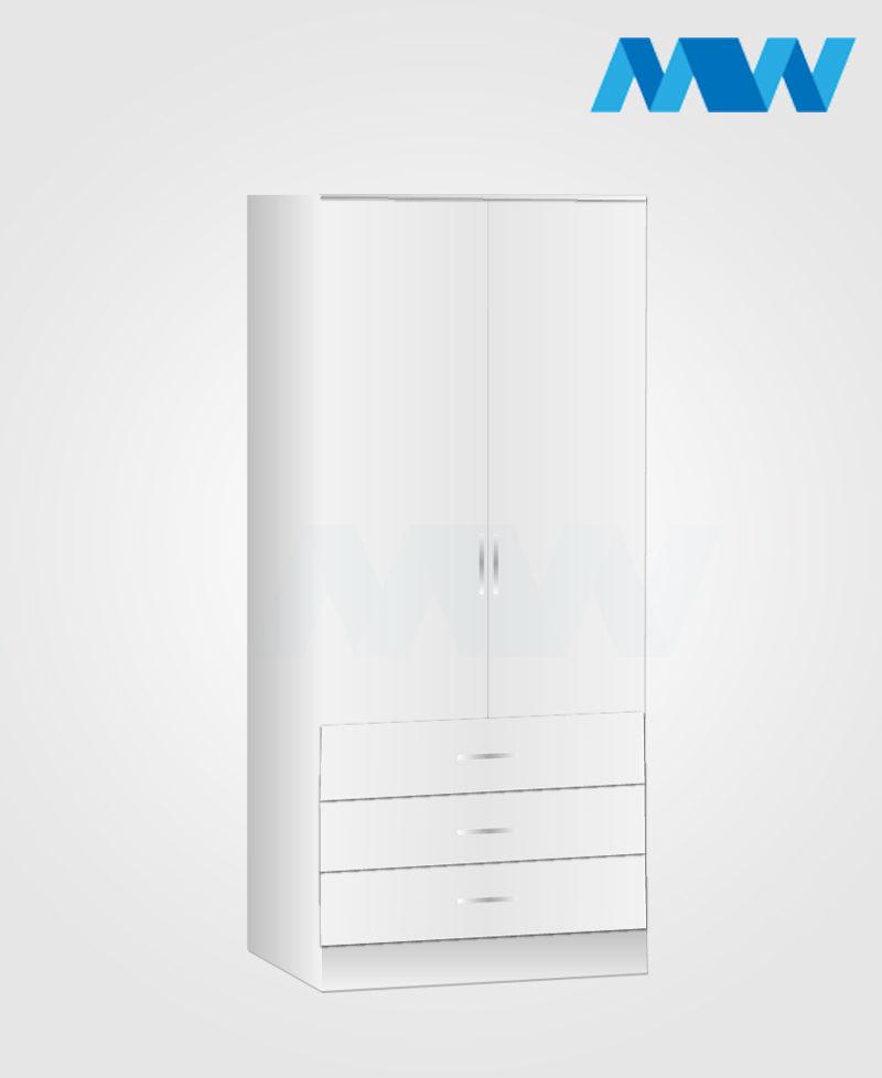 Zen 2 Door Wardrobe With 3 Drawer white