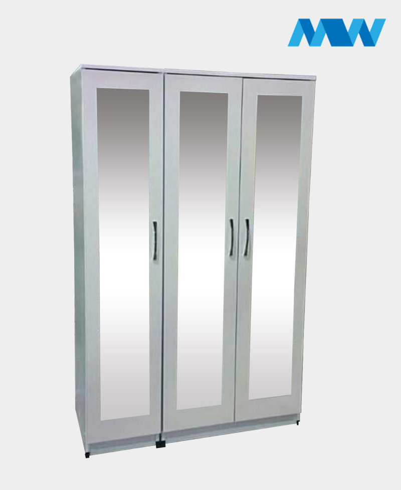 3 Door Mirrored Wardrobe white