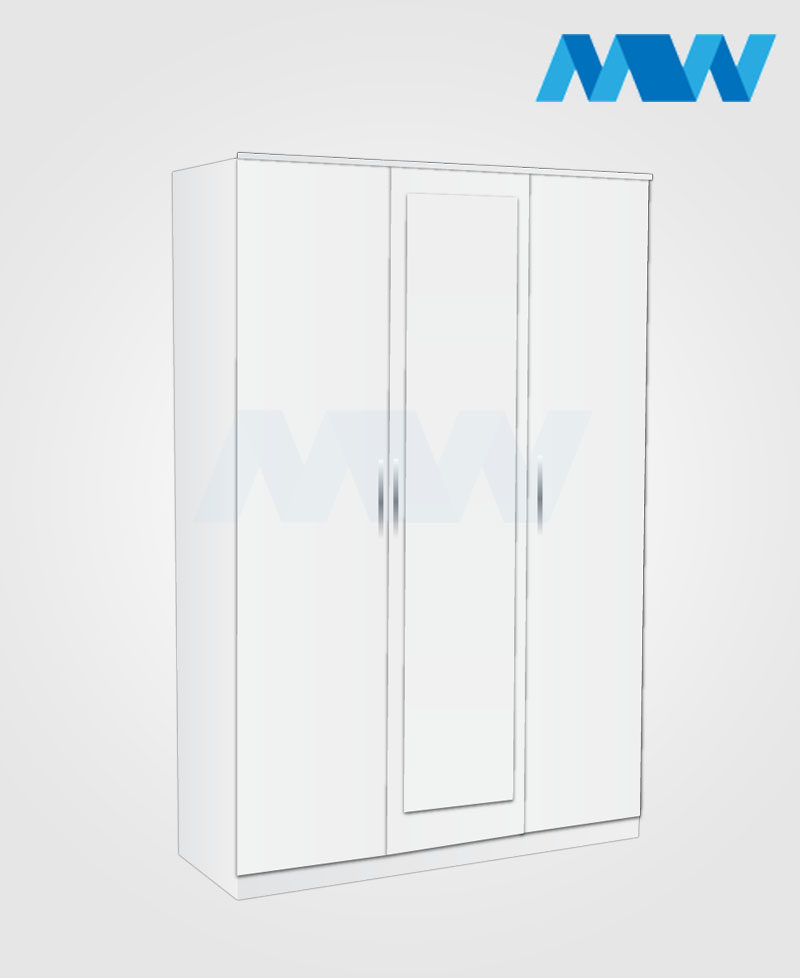 3 door 1 mirror wardrobe white