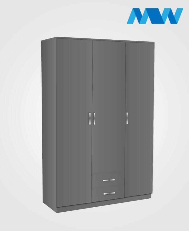 3 door wardrobe with 2 drawers grey